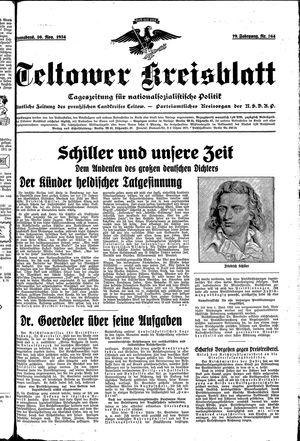 Teltower Kreisblatt vom 10.11.1934