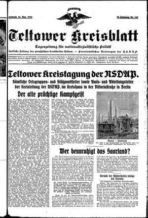 Teltower Kreisblatt vom 14.11.1934