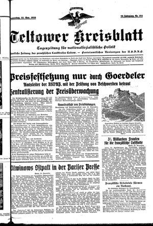 Teltower Kreisblatt vom 22.11.1934