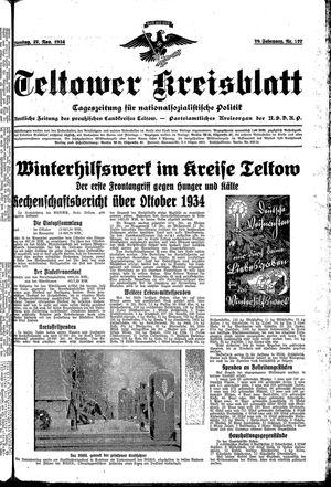 Teltower Kreisblatt vom 27.11.1934