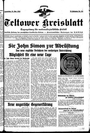 Teltower Kreisblatt vom 29.11.1934