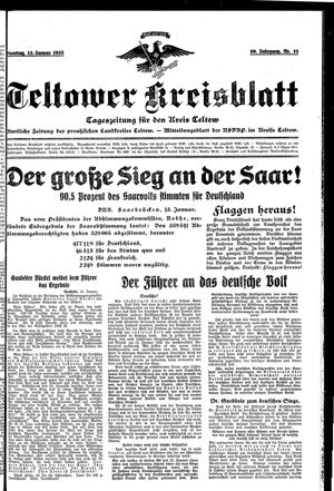 Teltower Kreisblatt vom 15.01.1935