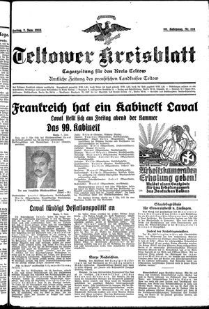 Teltower Kreisblatt vom 07.06.1935