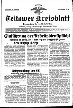 Teltower Kreisblatt vom 27.06.1935