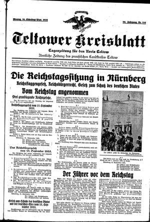 Teltower Kreisblatt vom 16.09.1935