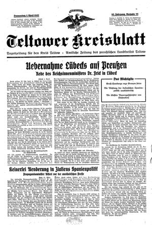 Teltower Kreisblatt vom 01.04.1937