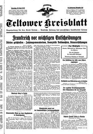 Teltower Kreisblatt vom 29.06.1937