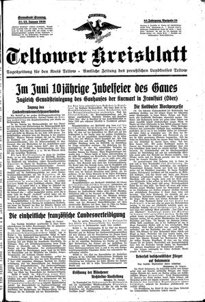 Teltower Kreisblatt vom 22.01.1938