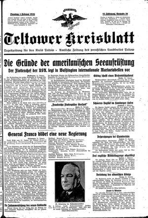 Teltower Kreisblatt vom 01.02.1938