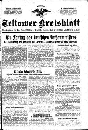 Teltower Kreisblatt on Feb 2, 1938