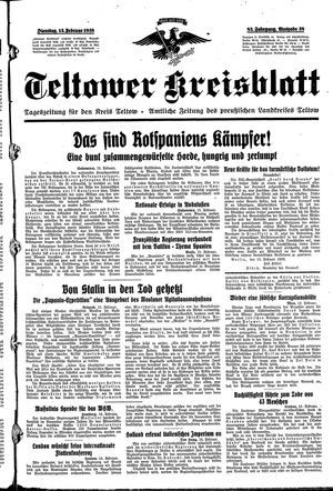Teltower Kreisblatt vom 15.02.1938