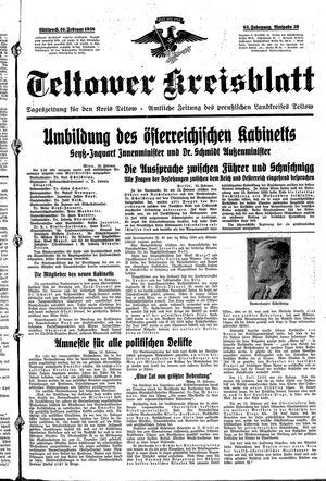 Teltower Kreisblatt vom 16.02.1938