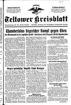 Teltower Kreisblatt vom 23.02.1938