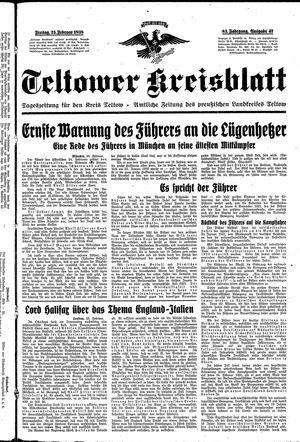 Teltower Kreisblatt vom 25.02.1938