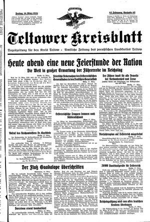 Teltower Kreisblatt vom 18.03.1938