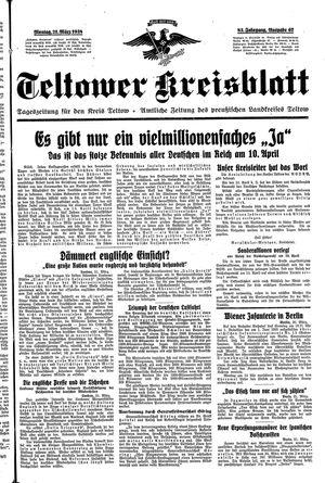 Teltower Kreisblatt vom 21.03.1938