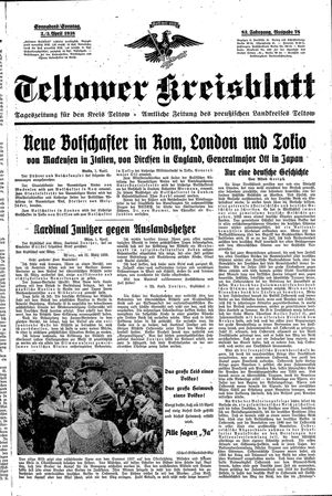 Teltower Kreisblatt on Apr 2, 1938