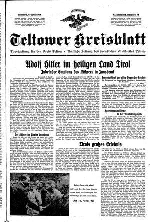 Teltower Kreisblatt vom 06.04.1938