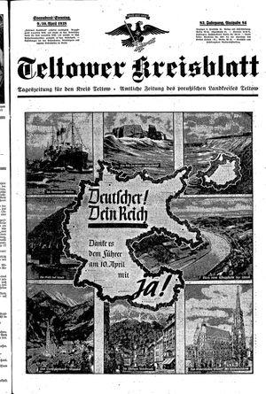 Teltower Kreisblatt vom 09.04.1938