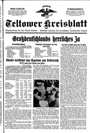 Teltower Kreisblatt vom 11.04.1938