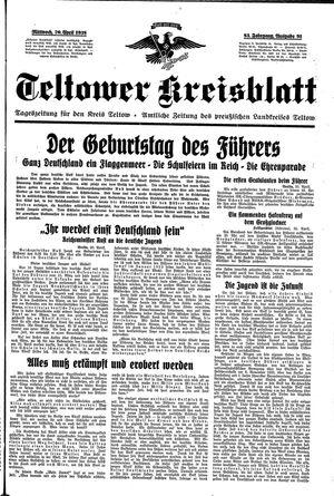 Teltower Kreisblatt vom 20.04.1938