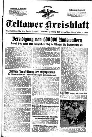 Teltower Kreisblatt vom 21.04.1938