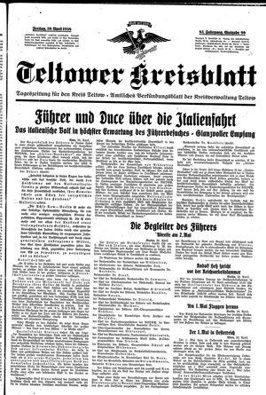 Teltower Kreisblatt vom 29.04.1938