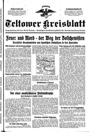 Teltower Kreisblatt vom 17.06.1938