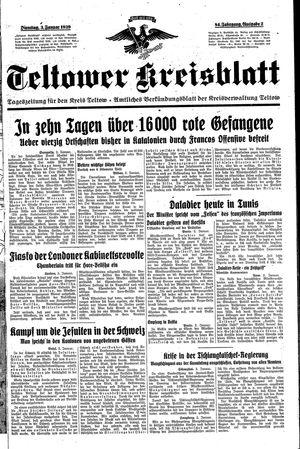 Teltower Kreisblatt vom 03.01.1939
