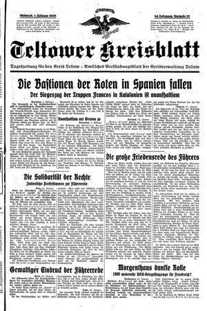 Teltower Kreisblatt vom 01.02.1939