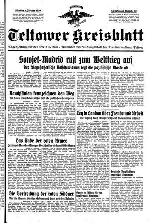 Teltower Kreisblatt vom 07.02.1939