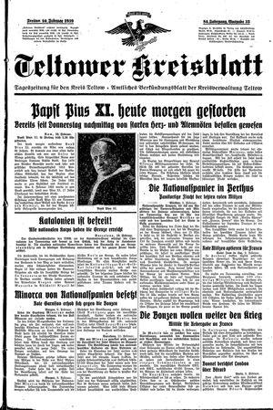 Teltower Kreisblatt vom 10.02.1939