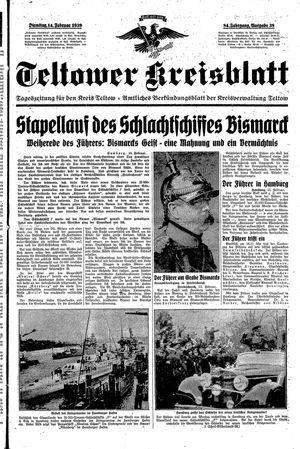 Teltower Kreisblatt vom 14.02.1939
