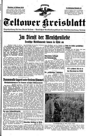 Teltower Kreisblatt vom 21.02.1939