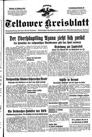 Teltower Kreisblatt vom 27.02.1939