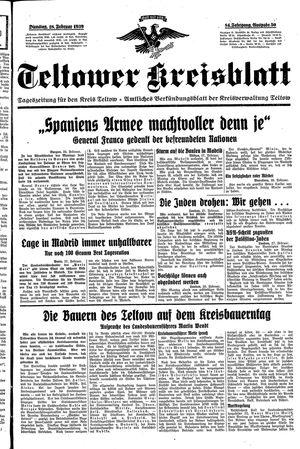 Teltower Kreisblatt vom 28.02.1939