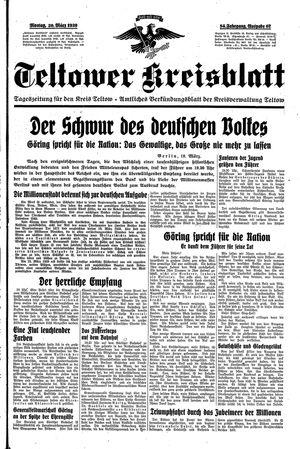 Teltower Kreisblatt vom 20.03.1939