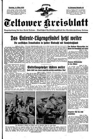 Teltower Kreisblatt vom 21.03.1939