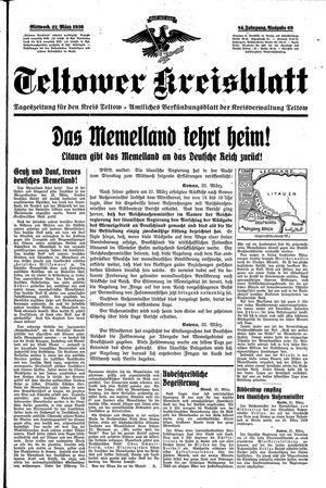 Teltower Kreisblatt vom 22.03.1939