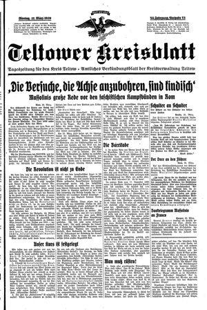 Teltower Kreisblatt vom 27.03.1939