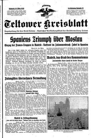 Teltower Kreisblatt vom 29.03.1939
