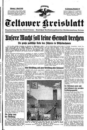 Teltower Kreisblatt vom 03.04.1939