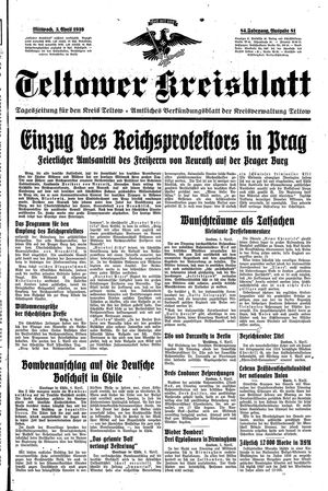 Teltower Kreisblatt vom 05.04.1939