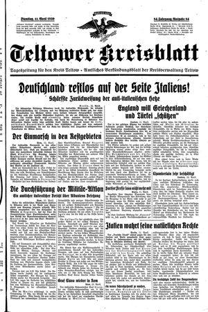 Teltower Kreisblatt vom 11.04.1939