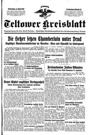 Teltower Kreisblatt vom 13.04.1939