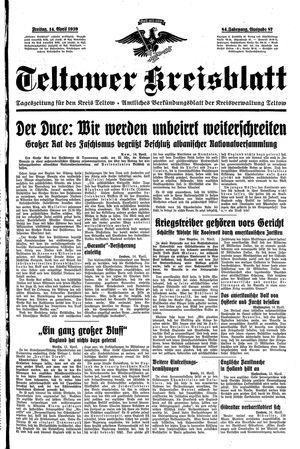 Teltower Kreisblatt vom 14.04.1939