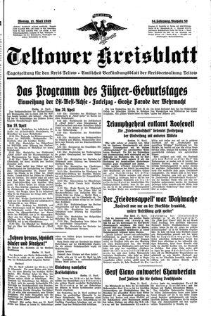 Teltower Kreisblatt vom 17.04.1939