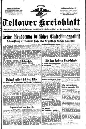 Teltower Kreisblatt vom 24.04.1939