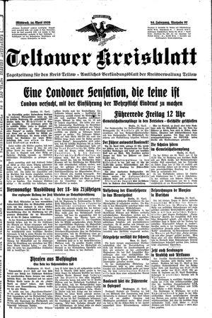 Teltower Kreisblatt vom 26.04.1939