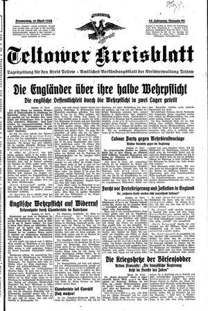 Teltower Kreisblatt vom 27.04.1939